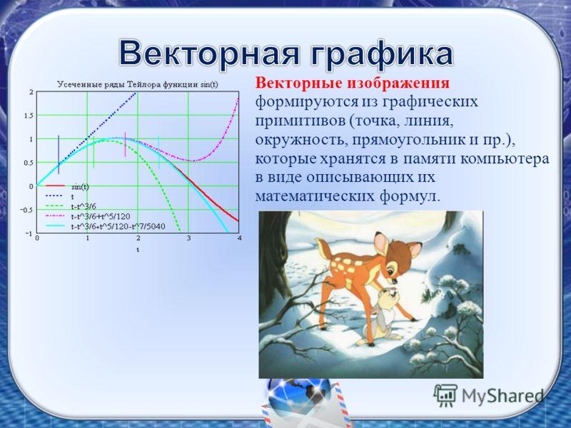 Векторные изображения формируются из графических примитивов (точка, линия, окружность, прямоугольник и пр.), которые хранятся в памяти компьютера в виде описывающих их математических формул.