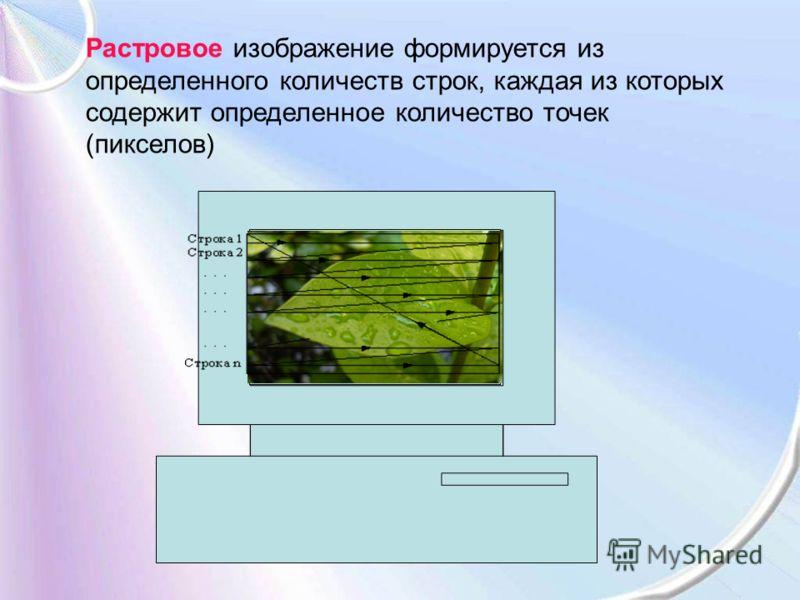 Растровое изображение формируется из определенного количеств строк, каждая из которых содержит определенное количество точек (пикселов)
