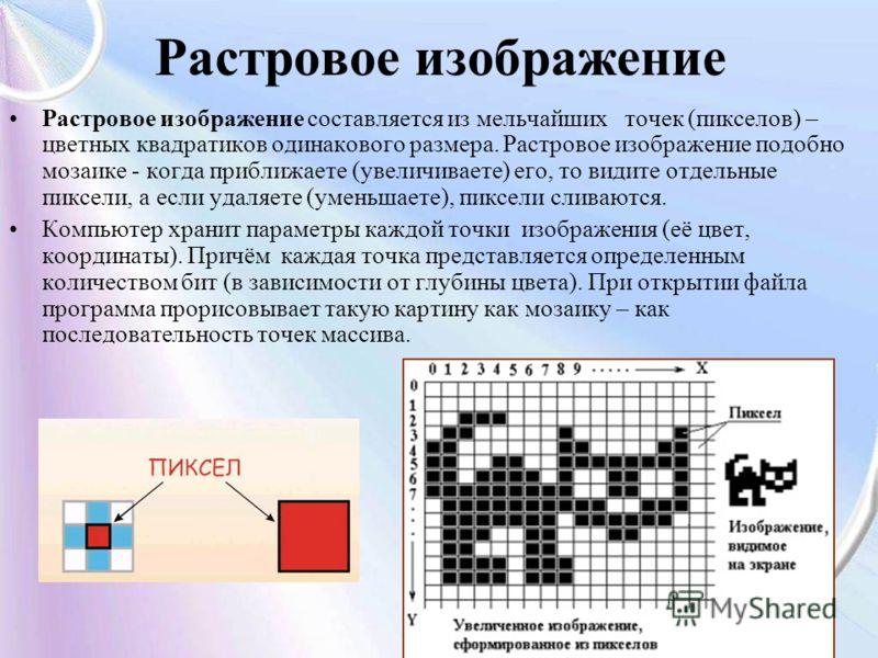 Растровое изображение Растровое изображение составляется из мельчайших точек (пикселов) – цветных квадратиков одинакового размера. Растровое изображение подобно мозаике - когда приближаете (увеличиваете) его, то видите отдельные пиксели, а если удаля
