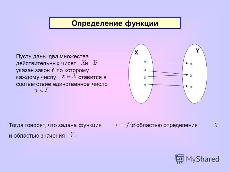 Определение функции X Y Пусть даны два множества действительных чисел и и указан закон f, по которому каждому числу ставится в соответствие единственное число Тогда говорят, что задана функция с областью определения и областью значения