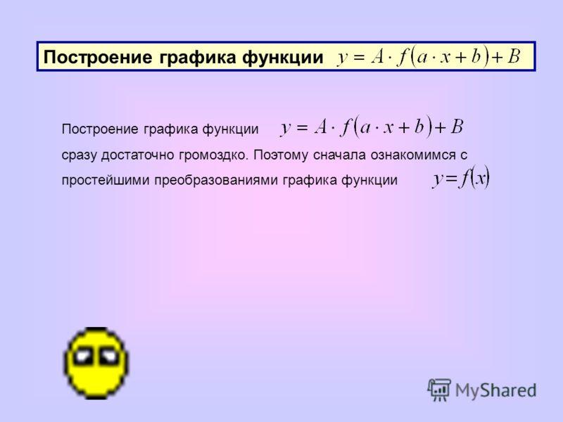 Построение графика функции сразу достаточно громоздко. Поэтому сначала ознакомимся с простейшими преобразованиями графика функции
