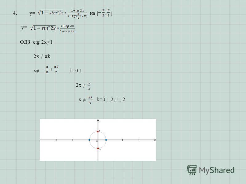 4.y= на [ ] y= ОДЗ: ctg 2x1 2x πk x k=0,1 2x x k=0,1,2,-1,-2