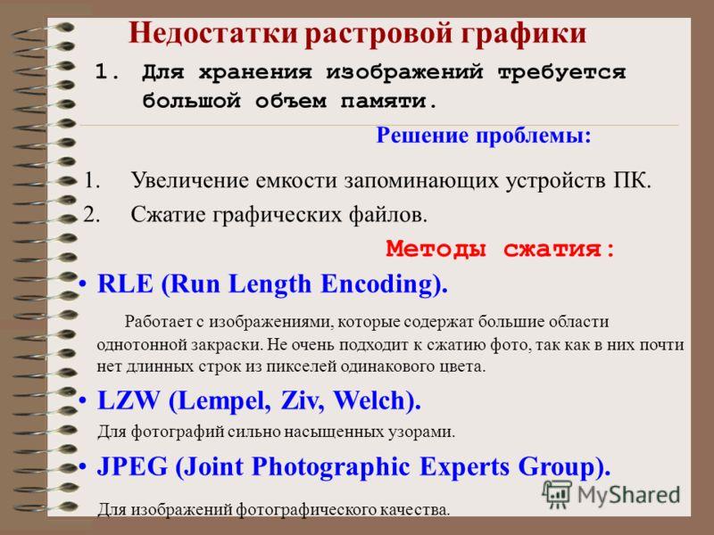 Недостатки растровой графики 1.Для хранения изображений требуется большой объем памяти. Решение проблемы: 1.Увеличение емкости запоминающих устройств ПК. 2.Сжатие графических файлов. Методы сжатия: RLE (Run Length Encoding). Работает с изображениями,