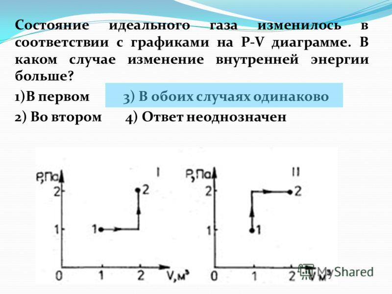 Состояние идеального газа изменилось в соответствии с графиками на P-V диаграмме. В каком случае изменение внутренней энергии больше? 1)В первом 3) В обоих случаях одинаково 2) Во втором 4) Ответ неоднозначен