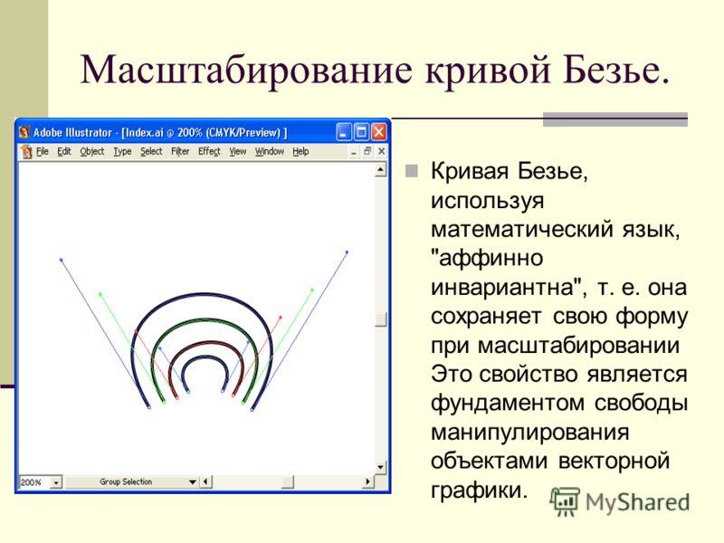 Масштабирование кривой Безье. Кривая Безье, используя математический язык, аффинно инвариантна, т. е. она сохраняет свою форму при масштабировании Это свойство является фундаментом свободы манипулирования объектами векторной графики.