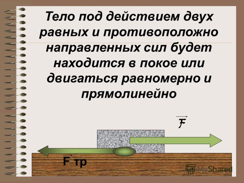 Тело под действием двух равных и противоположно направленных сил будет находится в покое или двигаться равномерно и прямолинейно F тр F
