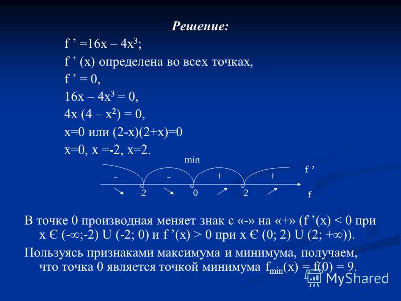 Решение: f =16х – 4х 3 ; f (х) определена во всех точках, f = 0, 16х – 4х 3 = 0, 4х (4 – х 2 ) = 0, х=0 или (2-х)(2+х)=0 х=0, х =-2, х=2. В точке 0 производная меняет знак с «-» на «+» (f (х) 0 при х Є (0; 2) U (2; +)). Пользуясь признаками максимума