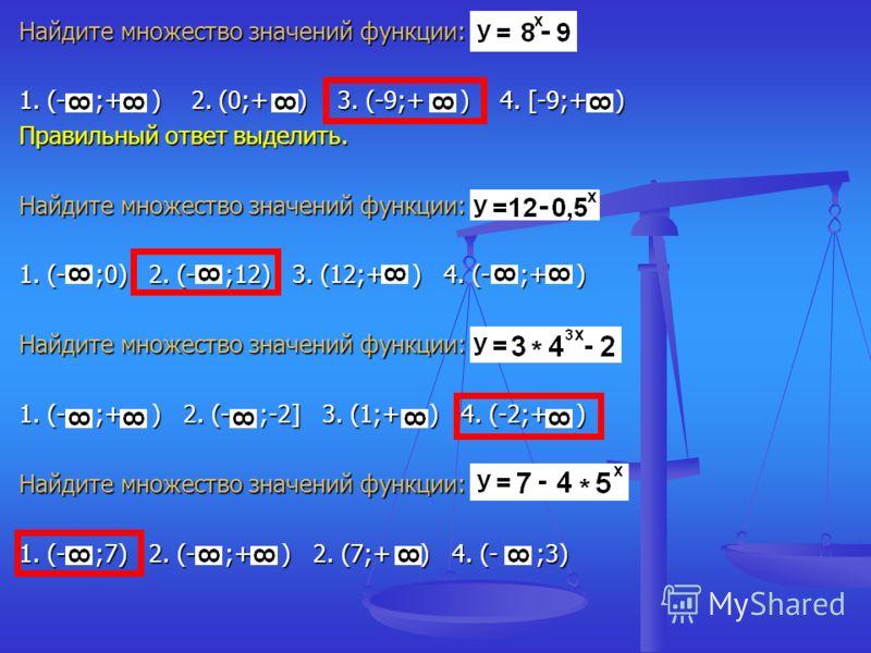 Найдите множество значений функции: 1. (- ;+ ) 2. (0;+ ) 3. (-9;+ ) 4. [-9;+ ) Правильный ответ выделить. Найдите множество значений функции: 1. (- ;0) 2. (- ;12) 3. (12;+ ) 4. (- ;+ ) Найдите множество значений функции: 1. (- ;+ ) 2. (- ;-2] 3. (1;+