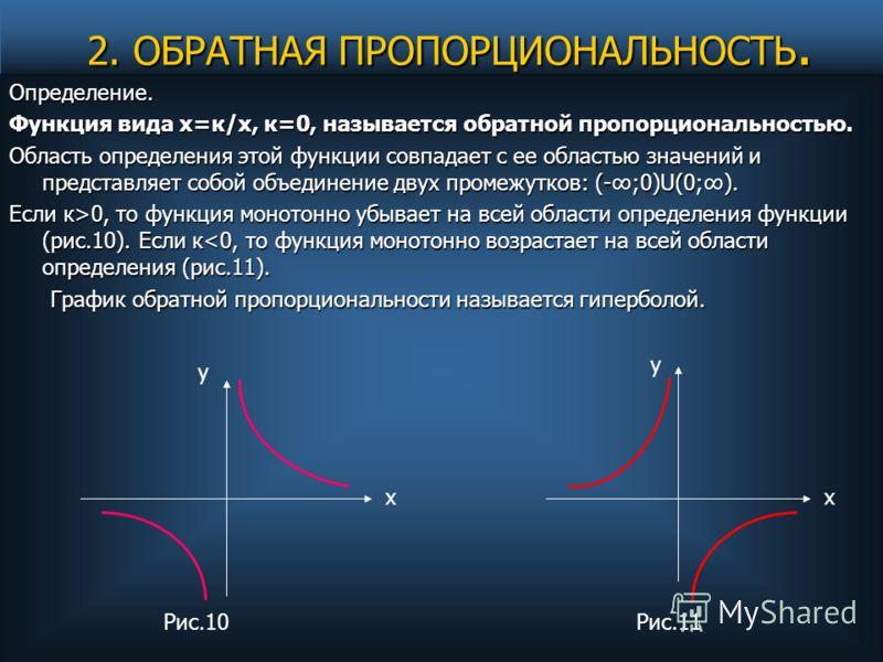 2. ОБРАТНАЯ ПРОПОРЦИОНАЛЬНОСТЬ. 2. ОБРАТНАЯ ПРОПОРЦИОНАЛЬНОСТЬ. Определение. Функция вида х=к/х, к=0, называется обратной пропорциональностью. Область определения этой функции совпадает с ее областью значений и представляет собой объединение двух про