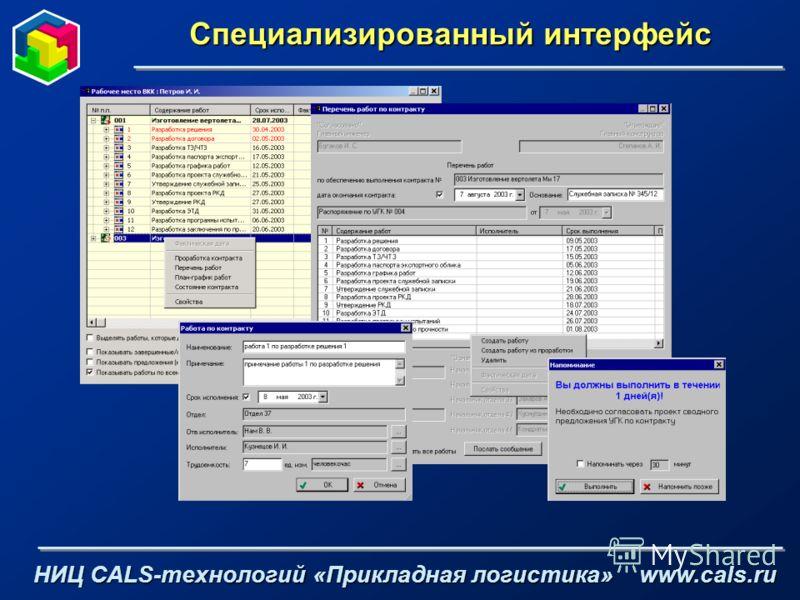 Специализированный интерфейс НИЦ CALS-технологий «Прикладная логистика» www.cals.ru