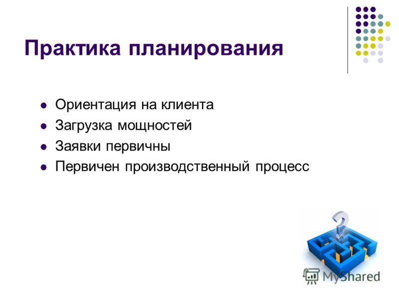 32 Практика планирования Ориентация на клиента Загрузка мощностей Заявки первичны Первичен производственный процесс
