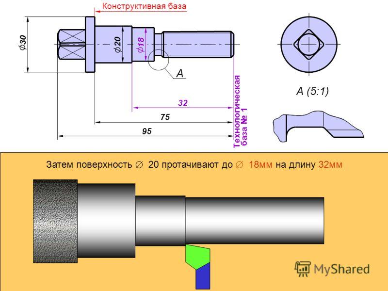 А А (5:1) 30 95 Технологическая база 1 20 75 Конструктивная база 32 18 Затем поверхность Ж 20 протачивают до Ж 18мм на длину 32мм
