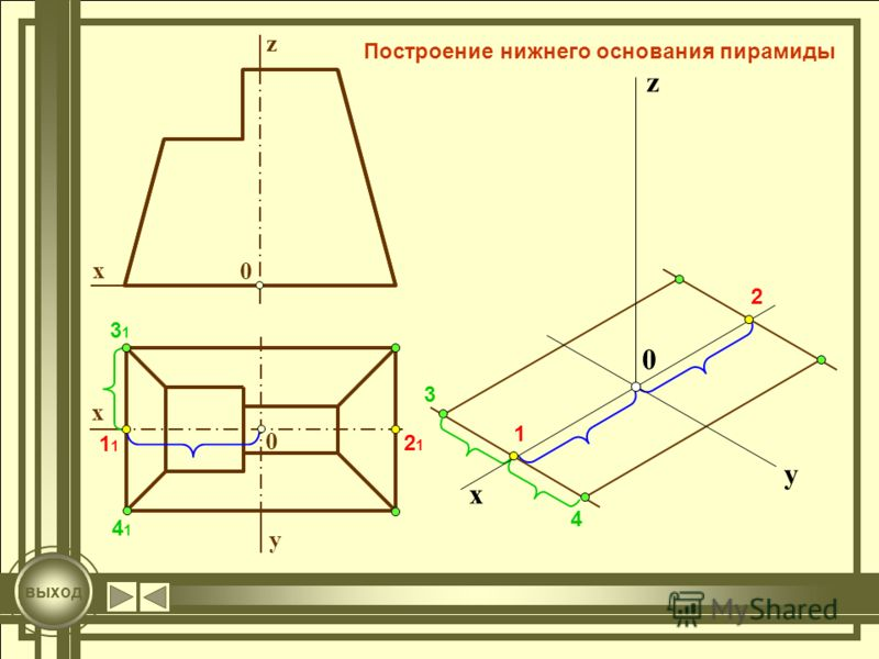 z 0 x 0 x y 1 1 2121 2 3131 3 4141 4 0 x y z выход Построение нижнего основания пирамиды