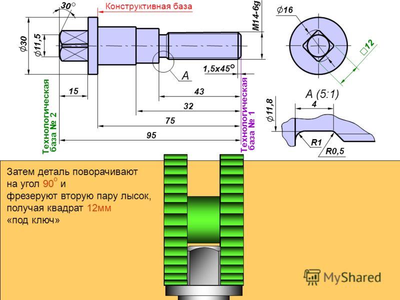 30 95 Технологическая база 1 20 75 Конструктивная база 32 18 43 М14-6g 1,5x45 А А (5:1) 15 11,5 Технологическая база 2 30 4 11,8 R1 R0,5 16 12 Затем деталь поворачивают на угол 90 о и фрезеруют вторую пару лысок, получая квадрат 12мм «под ключ»