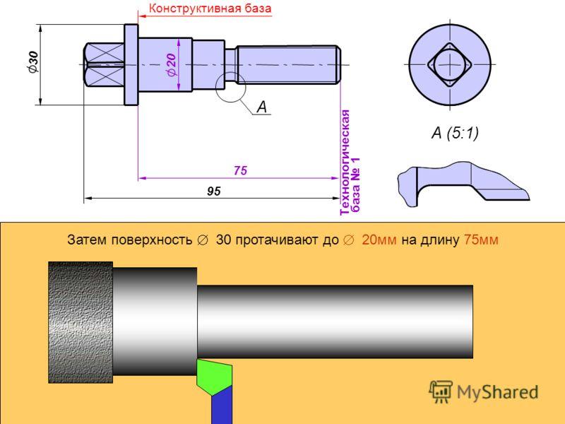 А А (5:1) Технологическая база 1 20 30 95 75 Конструктивная база Затем поверхность Ж 30 протачивают до Ж 20мм на длину 75мм