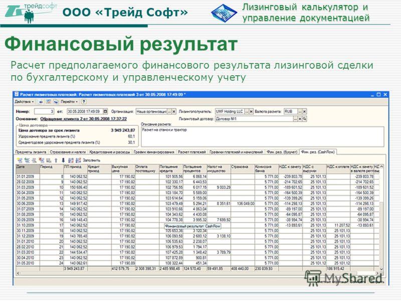 ООО «Трейд Софт» Лизинговый калькулятор и управление документацией Расчет предполагаемого финансового результата лизинговой сделки по бухгалтерскому и управленческому учету Финансовый результат