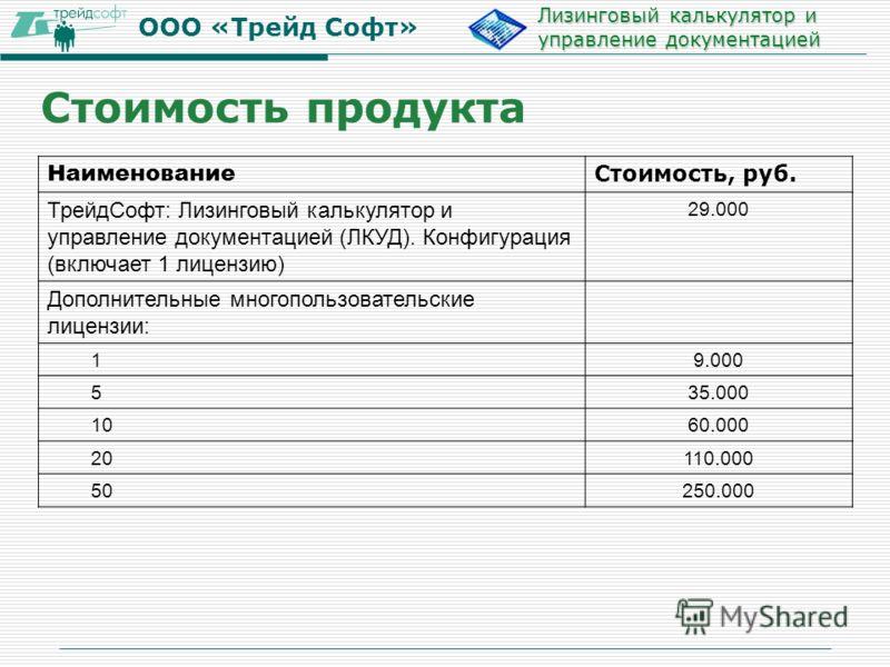 ООО «Трейд Софт» Лизинговый калькулятор и управление документацией Наименование Стоимость, руб. ТрейдСофт: Лизинговый калькулятор и управление документацией (ЛКУД). Конфигурация (включает 1 лицензию) 29.000 Дополнительные многопользовательские лиценз