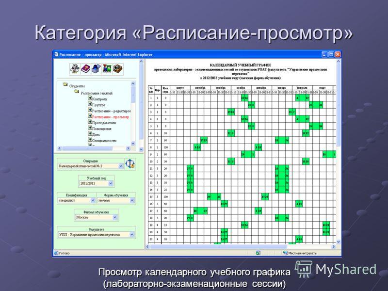 Категория «Расписание-просмотр» Просмотр календарного учебного графика (лабораторно-экзаменационные сессии)