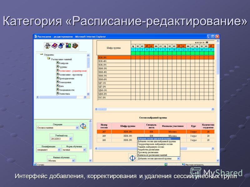 Категория «Расписание-редактирование» Интерфейс добавления, корректирования и удаления сессий учебных групп