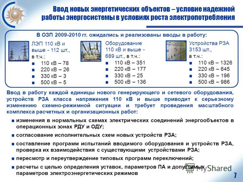 7 Ввод новых энергетических объектов – условие надежной работы энергосистемы в условиях роста электропотребления ЛЭП 110 кВ и выше - 112 шт., в т.ч.: 110 кВ – 78 220 кВ – 26 330 кВ – 3 500 кВ – 5 В ОЗП 2009-2010 гг. ожидались и реализованы вводы в ра
