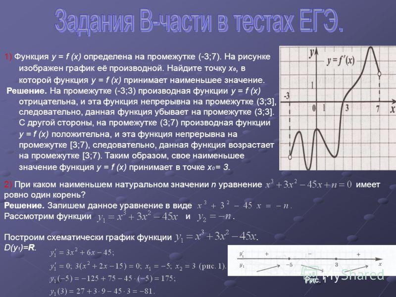 1) Функция y = f (x) определена на промежутке (-3;7). На рисунке изображен график её производной. Найдите точку x 0, в которой функция y = f (x) принимает наименьшее значение. Решение. На промежутке (-3;3) производная функции y = f (x) отрицательна,