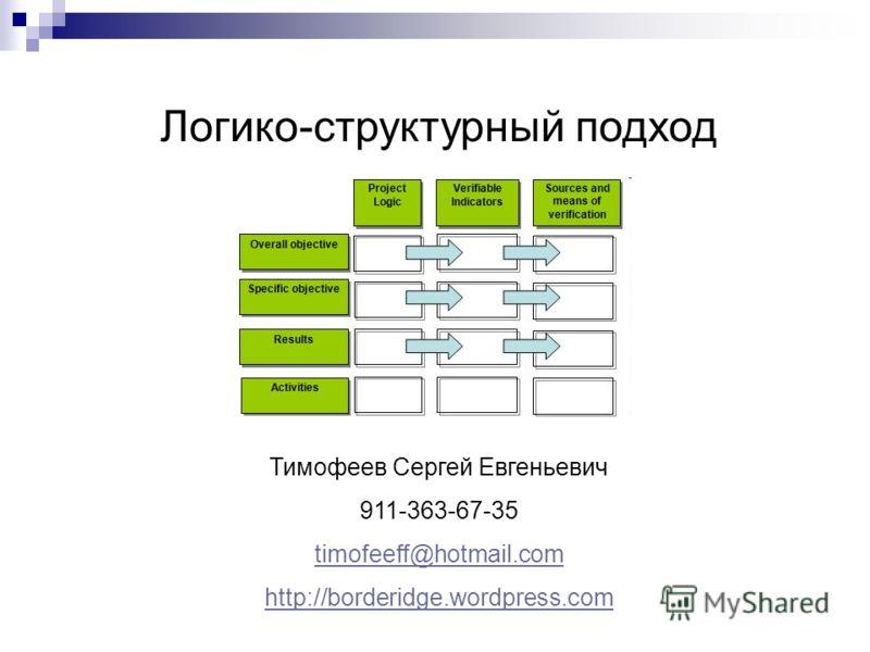 Логико-структурный подход Тимофеев Сергей Евгеньевич 911-363-67-35 timofeeff@hotmail.com http://borderidge.wordpress.com