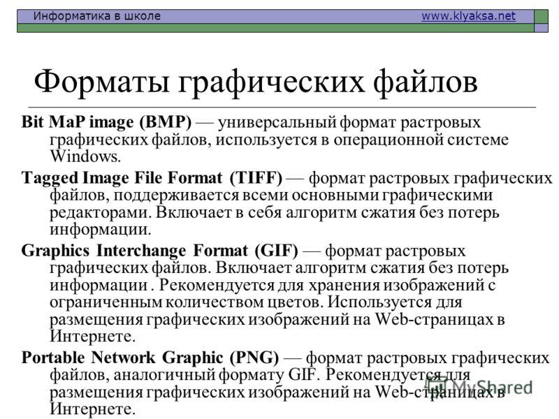 Информатика в школе www.klyaksa.netwww.klyaksa.net Форматы графических файлов Bit MaP image (BMP) универсальный формат растровых графических файлов, используется в операционной системе Windows. Tagged Image File Format (TIFF) формат растровых графиче