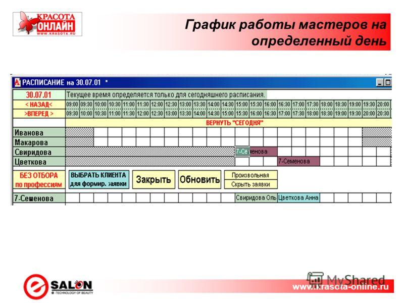 График работы мастеров на определенный день www.krasota-online.ru