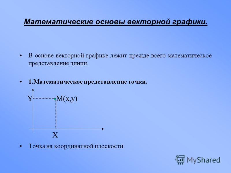 Математические основы векторной графики. В основе векторной графике лежит прежде всего математическое представление линии. 1.Математическое представление точки. Точка на координатной плоскости. X YM(x,y)