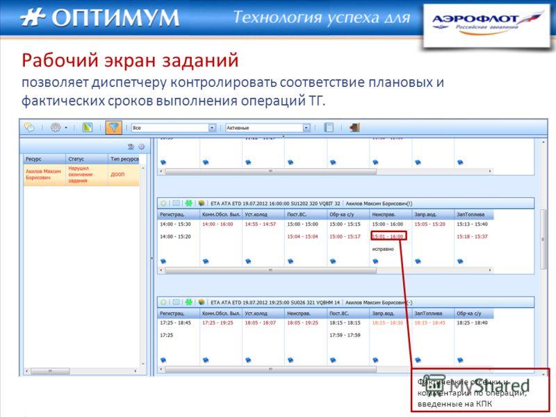 Фактические отсечки и комментарии по операции, введенные на КПК Рабочий экран заданий позволяет диспетчеру контролировать соответствие плановых и фактических сроков выполнения операций ТГ.