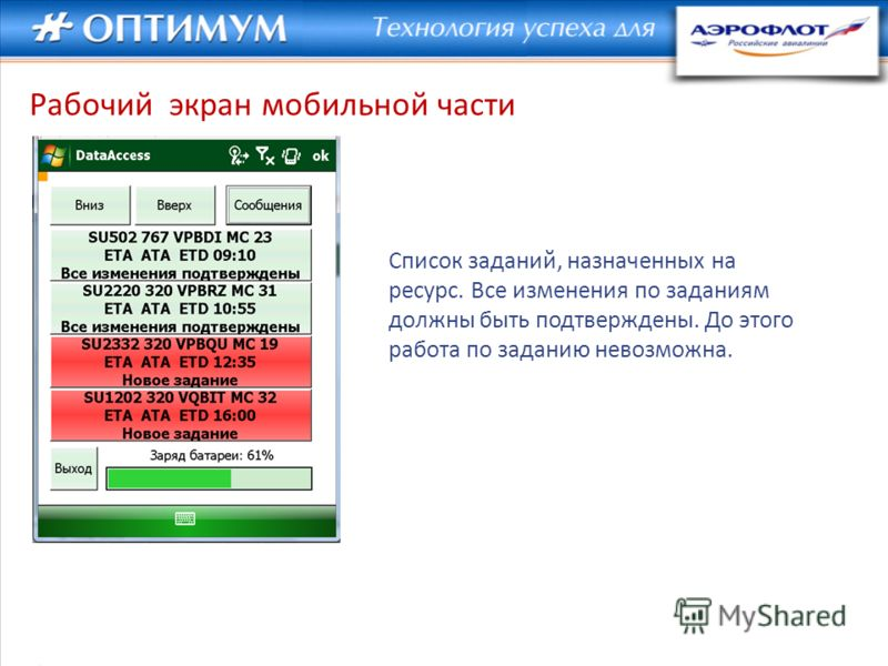Рабочий экран мобильной части Список заданий, назначенных на ресурс. Все изменения по заданиям должны быть подтверждены. До этого работа по заданию невозможна.