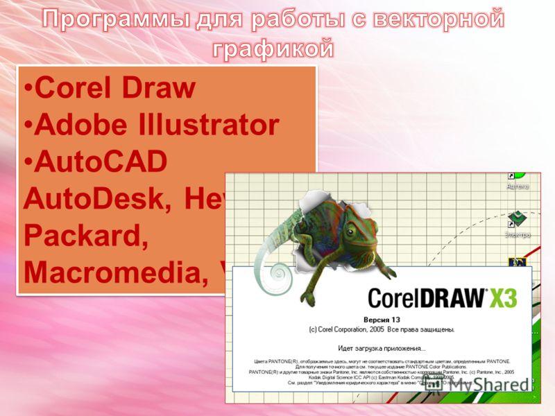 Corel Draw Adobe Illustrator AutoCAD AutoDesk, Hewlett- Packard, Macromedia, Visio Corel Draw Adobe Illustrator AutoCAD AutoDesk, Hewlett- Packard, Macromedia, Visio