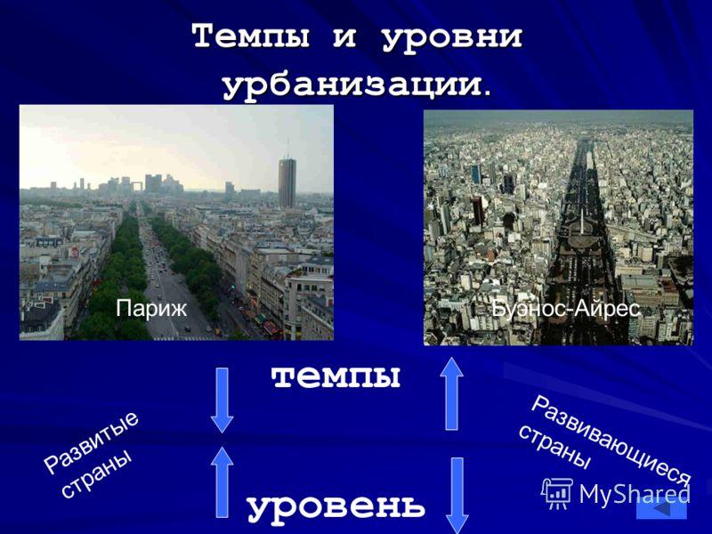 Темпы и уровни урбанизации. Буэнос-Айрес Париж темпы уровень Развитые страны Развивающиеся страны