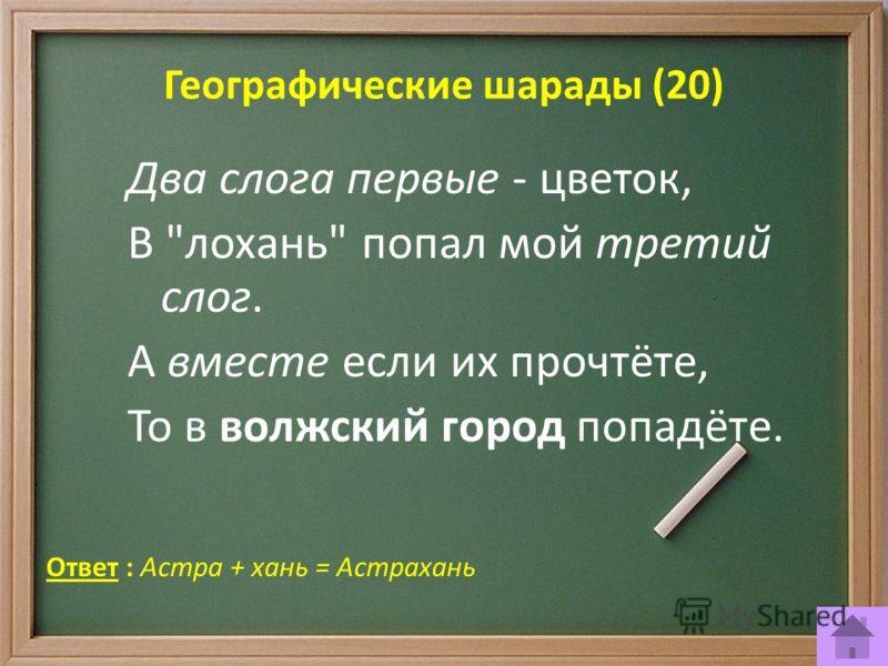 Географические шарады (20) Ответ : Астра + хань = Астрахань Два слога первые - цветок, В лохань попал мой третий слог. А вместе если их прочтёте, То в волжский город попадёте.