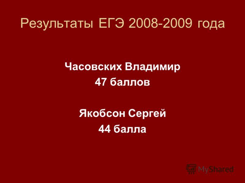 Результаты ЕГЭ 2008-2009 года Часовских Владимир 47 баллов Якобсон Сергей 44 балла