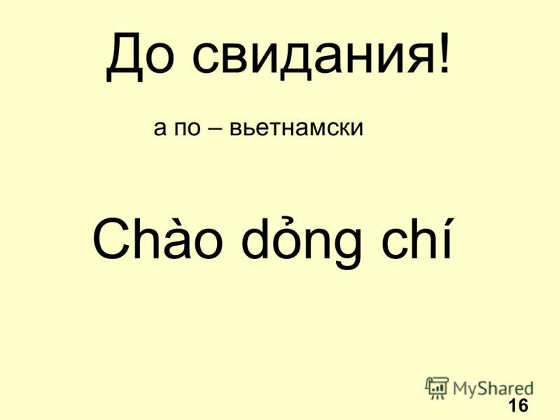 До свидания! а по – вьетнамски Chào dng chí 16