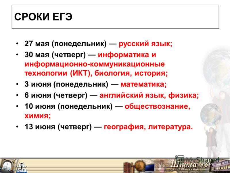 СРОКИ ЕГЭ 27 мая (понедельник) русский язык; 30 мая (четверг) информатика и информационно-коммуникационные технологии (ИКТ), биология, история; 3 июня (понедельник) математика; 6 июня (четверг) английский язык, физика; 10 июня (понедельник) обществоз