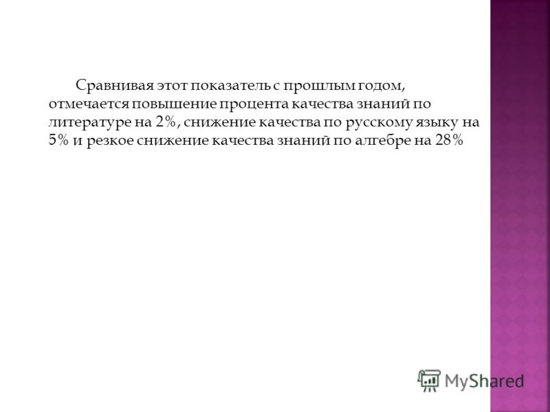 Сравнивая этот показатель с прошлым годом, отмечается повышение процента качества знаний по литературе на 2%, снижение качества по русскому языку на 5% и резкое снижение качества знаний по алгебре на 28%