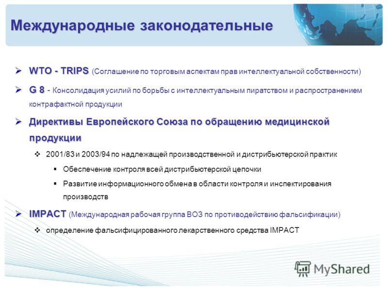 WTO - TRIPS WTO - TRIPS (Соглашение по торговым аспектам прав интеллектуальной собственности) G 8 G 8 - Консолидация усилий по борьбы с интеллектуальным пиратством и распространением контрафактной продукции Директивы Европейского Союза по обращению м