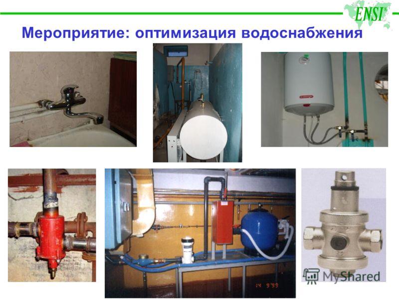 Мероприятие: оптимизация водоснабжения