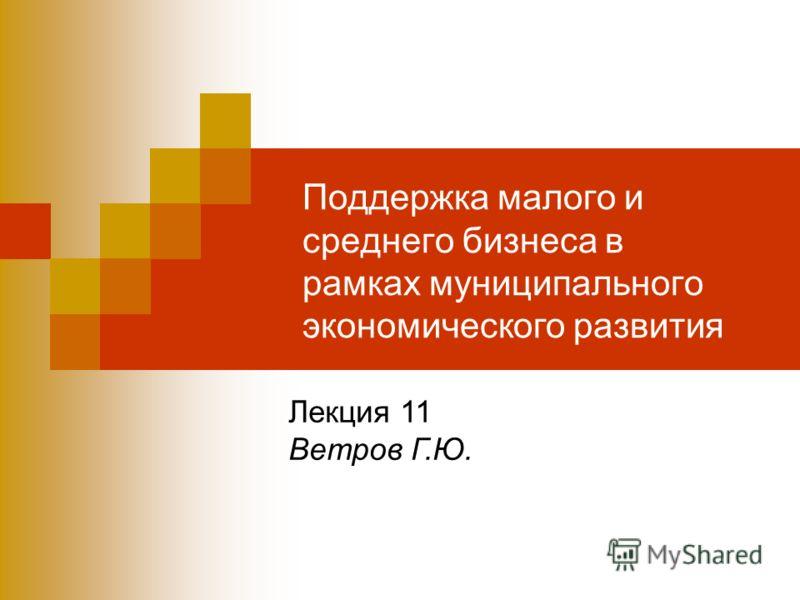 Поддержка малого и среднего бизнеса в рамках муниципального экономического развития Лекция 11 Ветров Г.Ю.