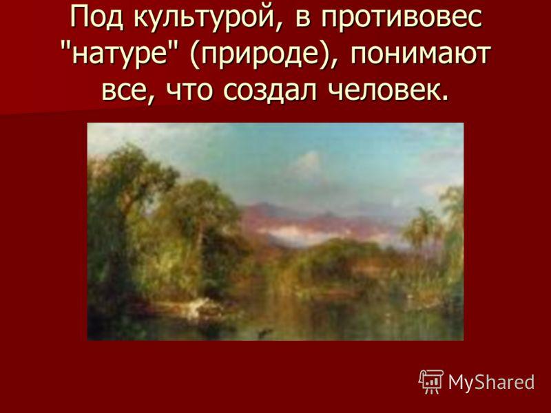 Под культурой, в противовес натуре (природе), понимают все, что создал человек.