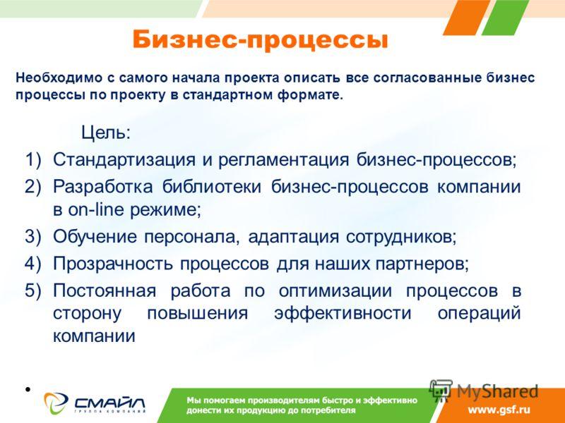 Бизнес-процессы Цель: 1)Стандартизация и регламентация бизнес-процессов; 2)Разработка библиотеки бизнес-процессов компании в оn-line режиме; 3)Обучение персонала, адаптация сотрудников; 4)Прозрачность процессов для наших партнеров; 5)Постоянная работ