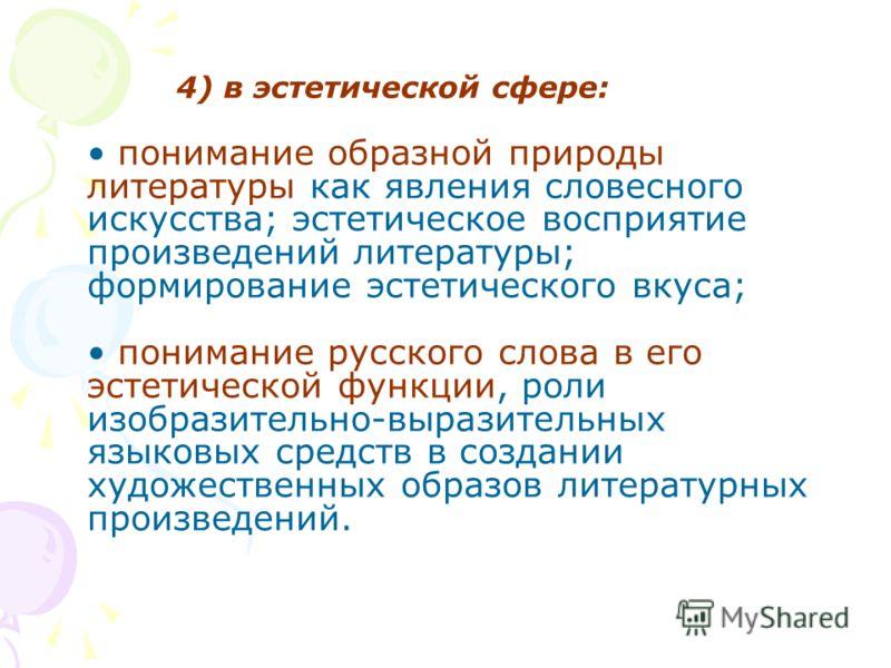 4) в эстетической сфере: понимание образной природы литературы как явления словесного искусства; эстетическое восприятие произведений литературы; формирование эстетического вкуса; понимание русского слова в его эстетической функции, роли изобразитель