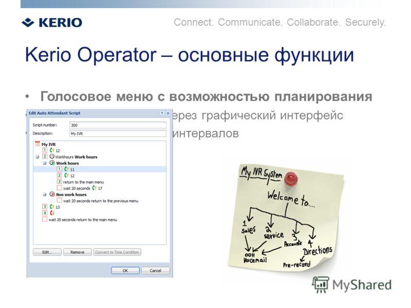Connect. Communicate. Collaborate. Securely. Kerio Operator – основные функции Голосовое меню с возможностью планирования Простое управление через графический интерфейс Установка временных интервалов