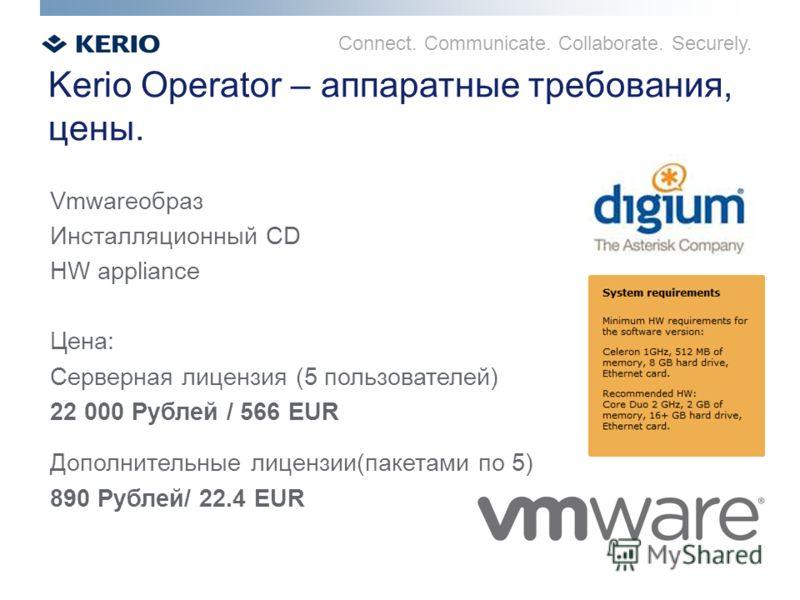 Connect. Communicate. Collaborate. Securely. Kerio Operator – аппаратные требования, цены. Vmwareобраз Инсталляционный CD HW appliance Цена: Серверная лицензия (5 пользователей) 22 000 Рублей / 566 EUR Дополнительные лицензии(пакетами по 5) 890 Рубле