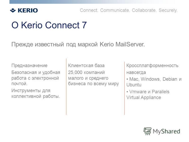 Connect. Communicate. Collaborate. Securely. О Kerio Connect 7 Прежде известный под маркой Kerio MailServer. Предназначение Безопасная и удобная работа с электронной почтой. Инструменты для коллективной работы. Клиентская база 25,000 компаний малого