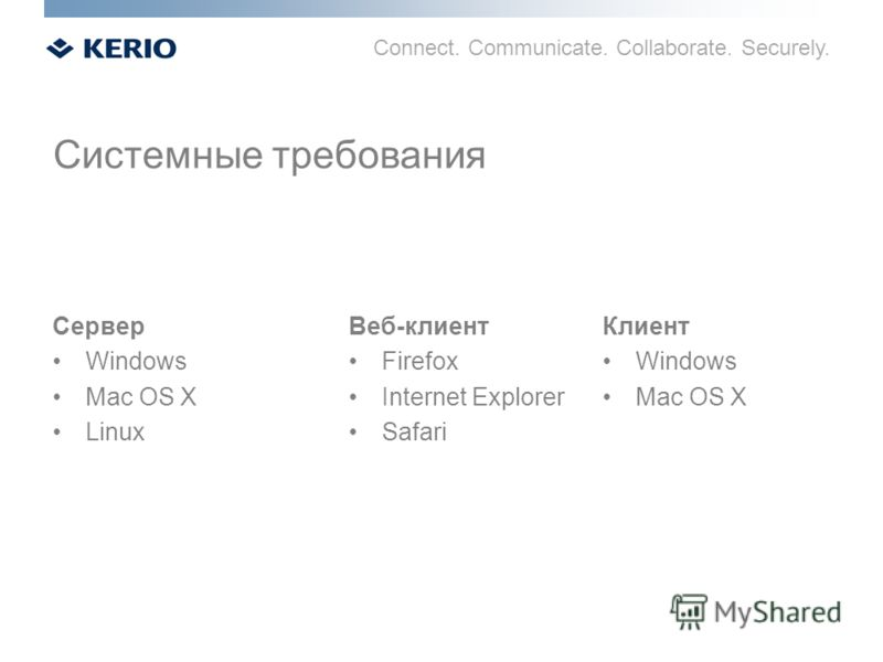 Connect. Communicate. Collaborate. Securely. Сервер Windows Mac OS X Linux Веб-клиент Firefox Internet Explorer Safari Клиент Windows Mac OS X Системные требования