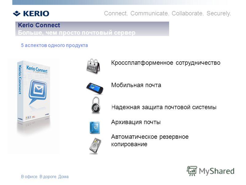 Connect. Communicate. Collaborate. Securely. Kerio Connect Больше, чем просто почтовый сервер 5 аспектов одного продукта Кроссплатформенное сотрудничество Мобильная почта Надежная защита почтовой системы Архивация почты Автоматическое резервное копир