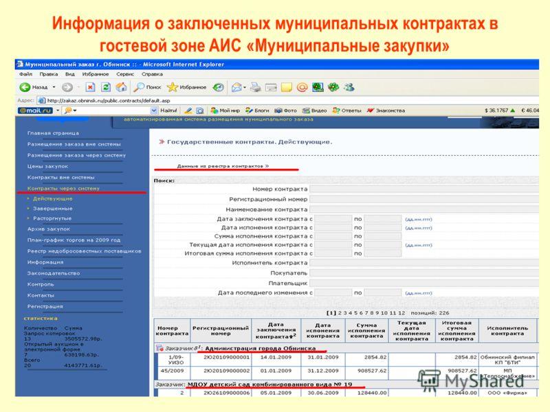 Информация о заключенных муниципальных контрактах в гостевой зоне АИС «Муниципальные закупки»